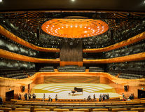 Modern Concert Hall in Katowice, Poland. KATOWICE, POLAND - JANUARY 14, 2017: Interior of modern concert hall of the National Symphonic Orchestra of Polish Radio Royalty Free Stock Photography