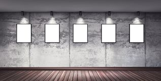 Modern concrete gallery room with directional spotlight Royalty Free Stock Images