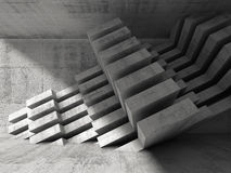 Modern concrete installation in empty 3d room Stock Photo