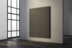 Modern concrete interior with canvas. Modern concrete room interior with empty canvas and city view. Gallery, exhibition, advertising concept. Mock up, 3D Stock Images