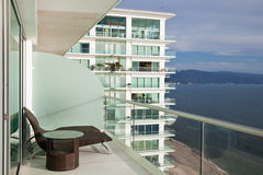 Modern Condo Balcony. Beautiful view from a modern high rise in Mexico Royalty Free Stock Image