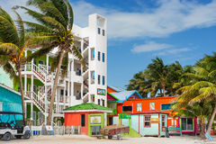 Modern condo building in Caye Caulker Belize Stock Photo