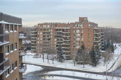 Modern condo buildings with huge windows and balconies in Montreal Royalty Free Stock Image