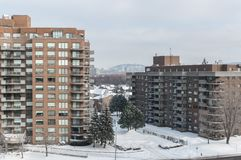 Modern condo buildings with huge windows and balconies in Montreal Stock Image