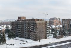 Modern condo buildings with huge windows and balconies in Montreal Royalty Free Stock Photos