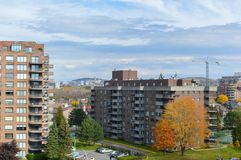 Modern condo buildings with huge windows. In fall in Montreal, Canada Stock Image