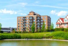 Modern condo buildings with huge windows royalty free stock photos