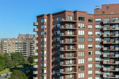 Modern condo buildings with huge windows. In Montreal, Canada Royalty Free Stock Images