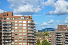 Modern condo buildings with huge windows. In Montreal, Canada Stock Photo