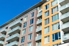 Modern condo buildings with huge windows in Montreal Royalty Free Stock Photography
