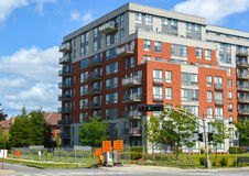 Modern condo buildings with huge windows. In Montreal, Canada Royalty Free Stock Photo