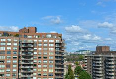 Modern condo buildings with huge windows. In Montreal, Canada Royalty Free Stock Photos