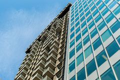 Modern condo buildings with huge windows in Montreal downtown. Canada royalty free stock images