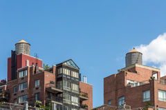 Modern Condo Buildings with water tank on top, New York City, USA Royalty Free Stock Photography