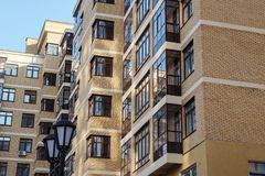 Modern condominium building real etate in city with blue sky royalty free stock photo