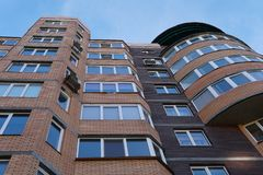 Modern condominium building real etate in city with blue sky stock photo