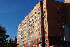 Modern condominium building real etate in city with blue sky royalty free stock image