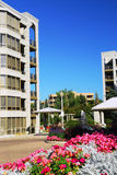 Modern condominium buildings. View of modern upscale condominium buildings with landscaping stock photography