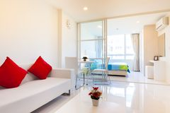 Modern condominium living room and bedroom stock image