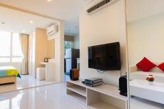 Modern condominium living room and bedroom royalty free stock photo