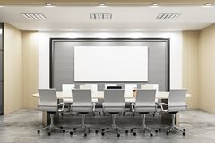 Modern conference room with blank billboards. On wall and equipment. Advertisement, presentation concept. Mock up, 3D Rendering Royalty Free Stock Photo