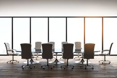 Modern conference room. Bright conference room interior with panoramic city view, furniture and daylight. 3D Rendering royalty free illustration