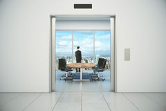 Modern conference room with businessman and city view from the l Stock Photos