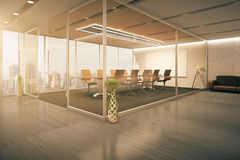 Modern conference room interior. Behind glass doors with decorative vases, wooden floor, couch and city view. 3D Rendering Stock Photo