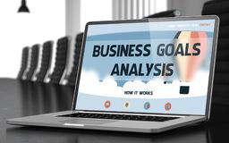 Business Goals Analysis on Laptop in Conference Hall. Modern Conference Room with Laptop on Foreground Showing Landing Page with Text Business Goals Analysis Stock Photography