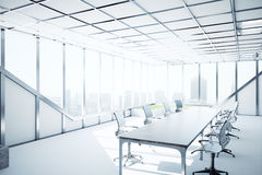Modern conference room. Side view of modern conference room with city view and sunlight. 3D Rendering Stock Photography