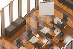 Modern conference room top. Top view of modern conference room with empty whiteboard stand, workplace and sunlight Mock up, 3D Rendering. Filtered image Stock Images