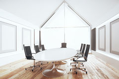 Modern conference room with white table and black chairs, 3D Ren Royalty Free Stock Photos