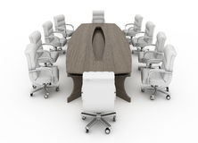Modern conference table with chairs isolated Royalty Free Stock Images
