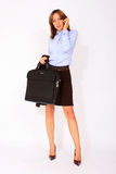 Modern confident business woman with a briefcase Stock Photo