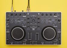 Modern connected DJ mixer, flat lay royalty free stock image