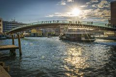Modern Constitution Bridge Ponte della Costituzione over Grand Canal. Royalty Free Stock Photography