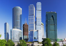 Modern construction of buildings. Against the blue sky stock photo