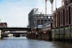 Modern construction at channel, Hamburg, Germany. Stock Photo