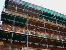 Modern construction site with scaffold platform sytem Royalty Free Stock Photo
