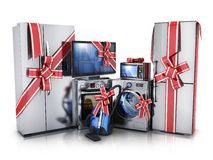 Modern consumer electronics. Gift modern consumer electronics,Fridge,washer and electric-cooker (done in 3d rendering Stock Photos