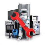 Modern consumer electronics repair. Robot repair consumer electronics,Fridge,washer and electric-cooker (done in 3d rendering Stock Photo