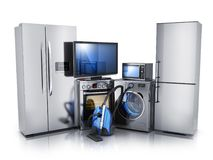 Modern consumer electronics on white background. TV, microwave, fridge, washer and electric-cooker. 3d illustration royalty free illustration