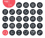 Modern contact, support and location line icons set Stock Photography