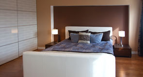 Modern contemporary apartment bedroom interior design after bamb Royalty Free Stock Image