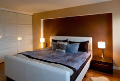 Modern contemporary apartment bedroom interior design after bamb Royalty Free Stock Photo