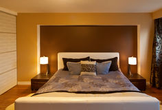 Modern contemporary apartment bedroom interior design after bamb Stock Images