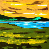 Modern Contemporary Art - Painting - Sunset Lake Meadow - Blue Orange Green Colors Royalty Free Stock Images