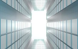 Modern contemporary background of lights on reflective panels Royalty Free Stock Photography