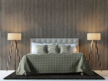 Modern contemporary bedroom interior 3d rendering image. There are decorate wall with vertical wood pattern,brown furniture and lamp Stock Photography