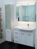 Modern contemporary designer white bathroom. Details of a modern trendy contemporary designer bathroom in all white elements Royalty Free Stock Photos